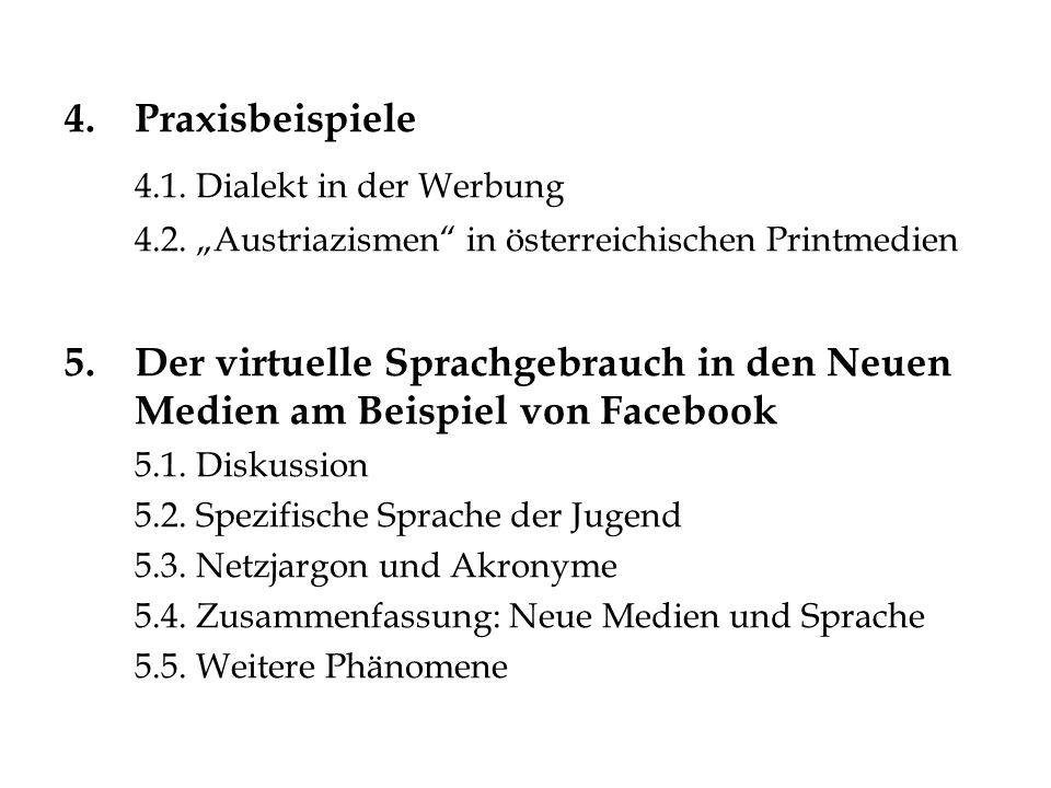 4.Praxisbeispiele 4.1. Dialekt in der Werbung 4.2. Austriazismen in österreichischen Printmedien 5.Der virtuelle Sprachgebrauch in den Neuen Medien am