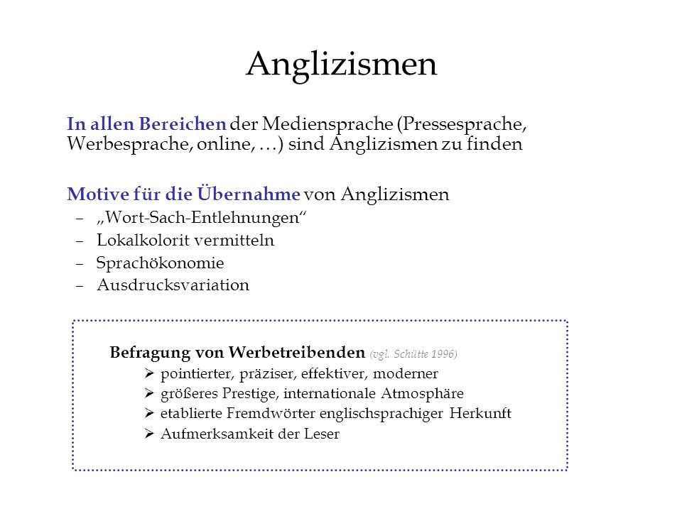 Anglizismen In allen Bereichen der Mediensprache (Pressesprache, Werbesprache, online, …) sind Anglizismen zu finden Motive für die Übernahme von Angl