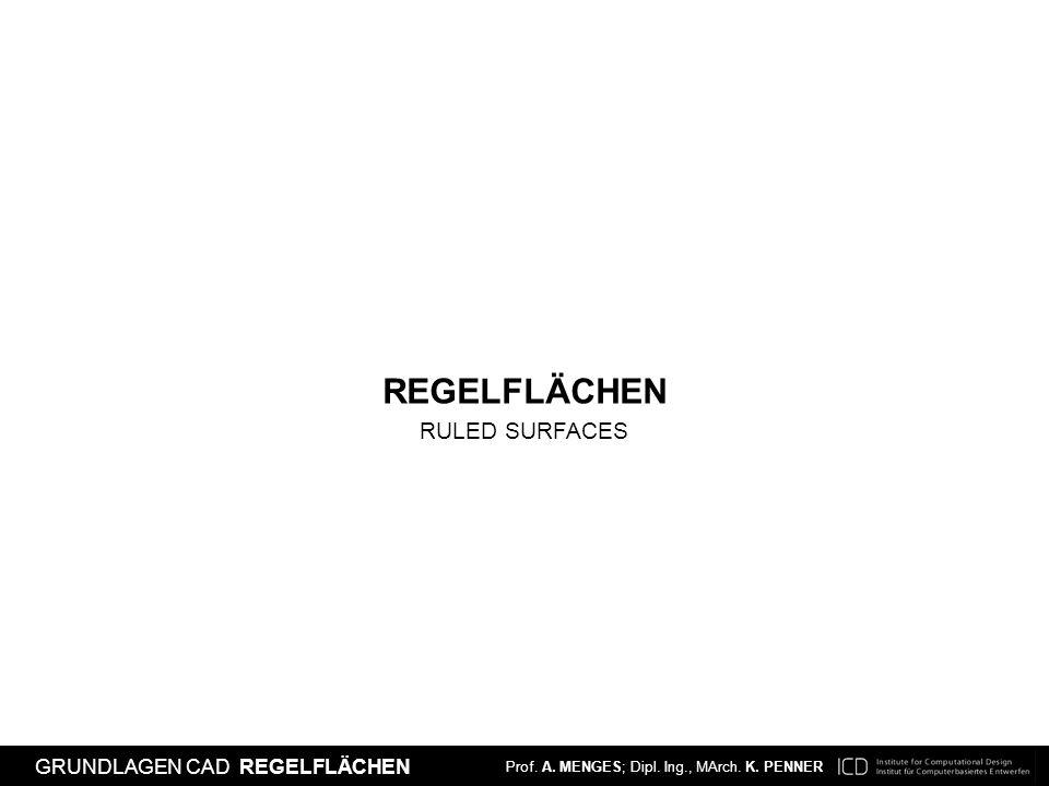 Prof. A. MENGES; Dipl. Ing., MArch. K. PENNER EINFÜHRUNG CAD NURBS FLÄCHEN Prof. A. MENGES; Dipl. Ing., MArch. K. PENNER GRUNDLAGEN CAD REGELFLÄCHEN R