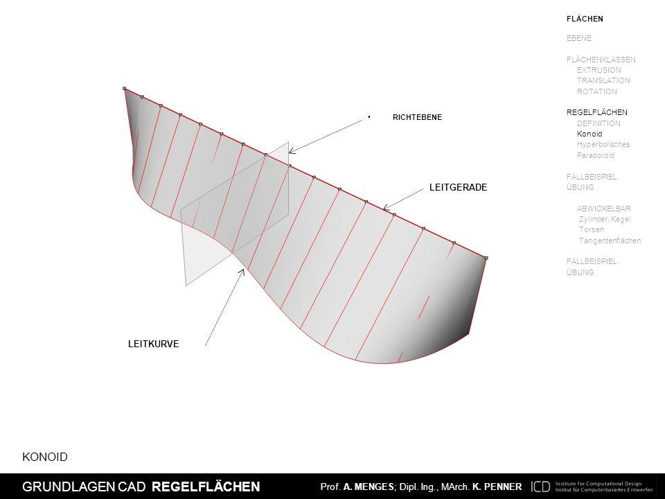 Prof. A. MENGES; Dipl. Ing., MArch. K. PENNER EINFÜHRUNG CAD NURBS FLÄCHEN Prof. A. MENGES; Dipl. Ing., MArch. K. PENNER GRUNDLAGEN CAD REGELFLÄCHEN K