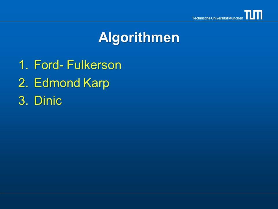 Algorithmen 1.Ford- Fulkerson 2.Edmond Karp 3.Dinic