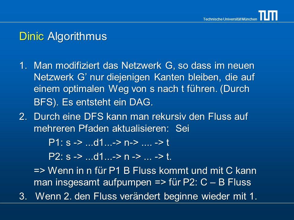 Technische Universität München Dinic Algorithmus 1.Man modifiziert das Netzwerk G, so dass im neuen Netzwerk G nur diejenigen Kanten bleiben, die auf
