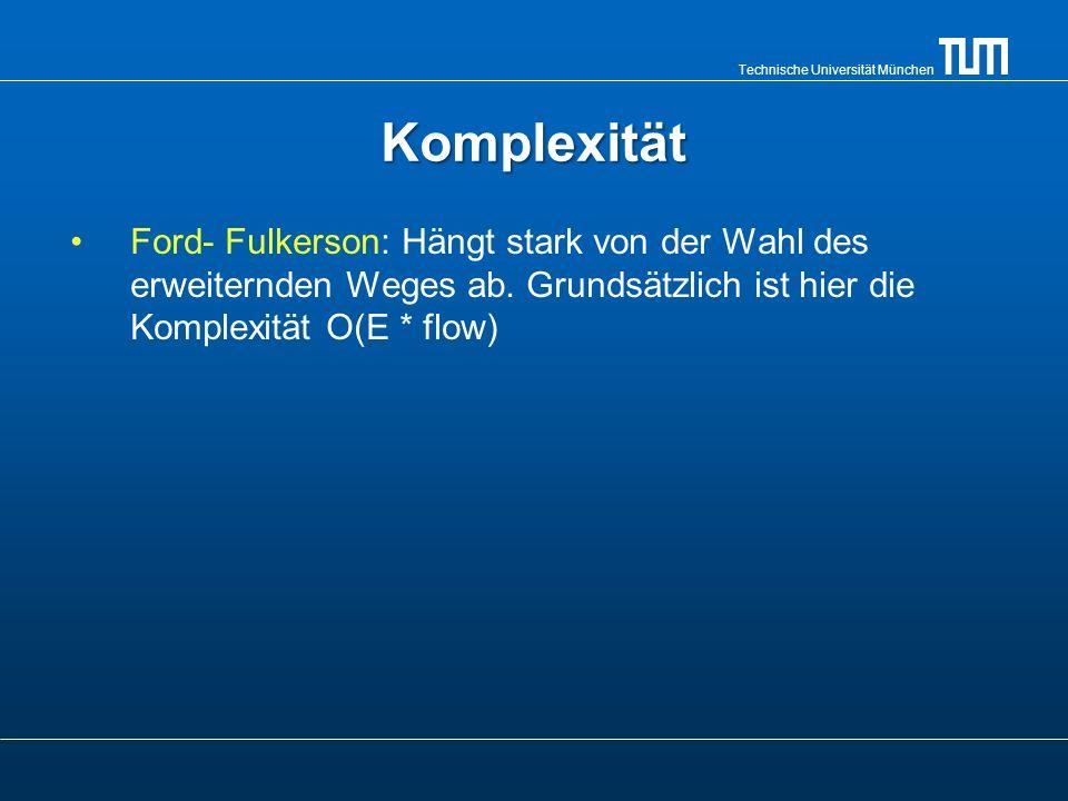 Technische Universität München Komplexität Ford- Fulkerson: Hängt stark von der Wahl des erweiternden Weges ab. Grundsätzlich ist hier die Komplexität