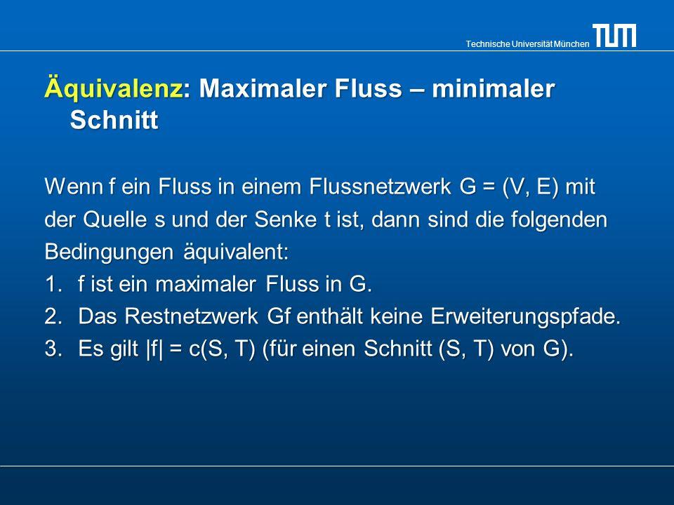 Technische Universität München Äquivalenz: Maximaler Fluss – minimaler Schnitt Wenn f ein Fluss in einem Flussnetzwerk G = (V, E) mit der Quelle s und