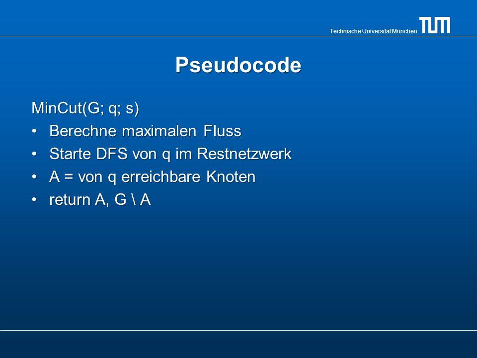 Technische Universität München Pseudocode MinCut(G; q; s) Berechne maximalen FlussBerechne maximalen Fluss Starte DFS von q im RestnetzwerkStarte DFS