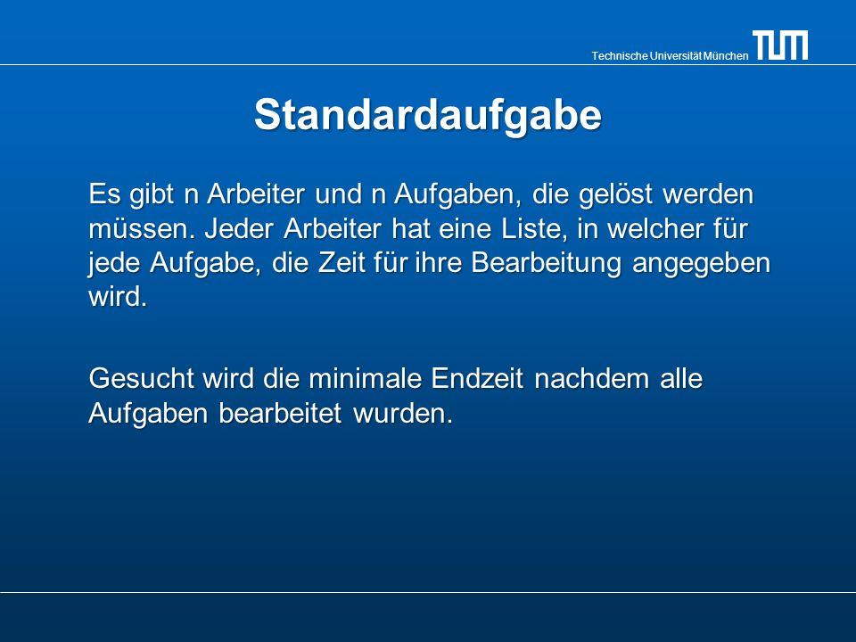 Technische Universität München Standardaufgabe Es gibt n Arbeiter und n Aufgaben, die gelöst werden müssen. Jeder Arbeiter hat eine Liste, in welcher