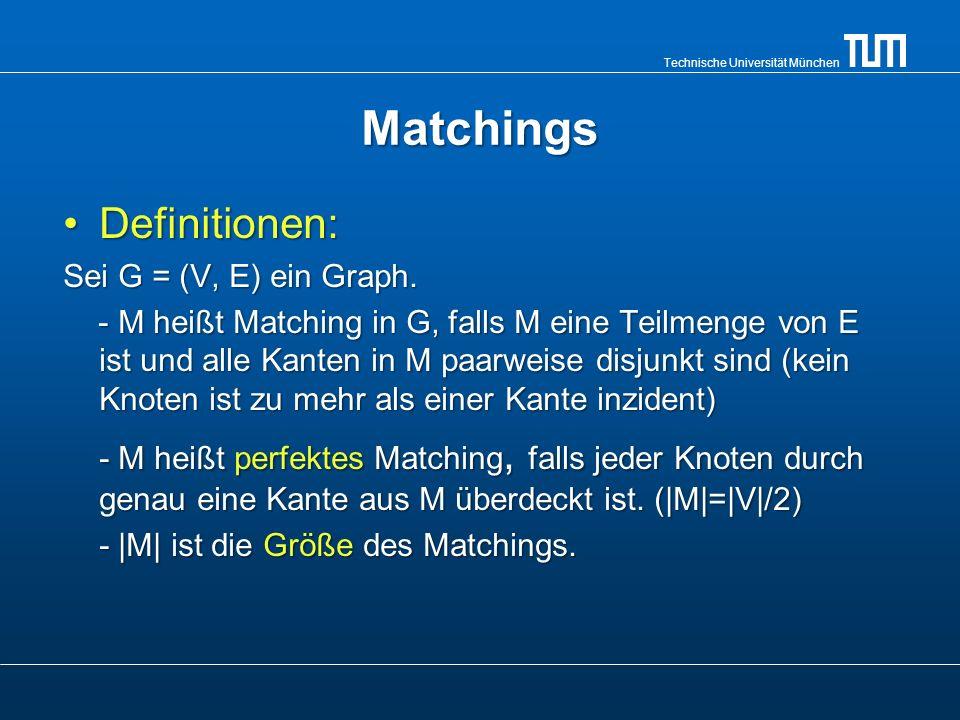 Technische Universität München Matchings Definitionen:Definitionen: Sei G = (V, E) ein Graph. - M heißt Matching in G, falls M eine Teilmenge von E is