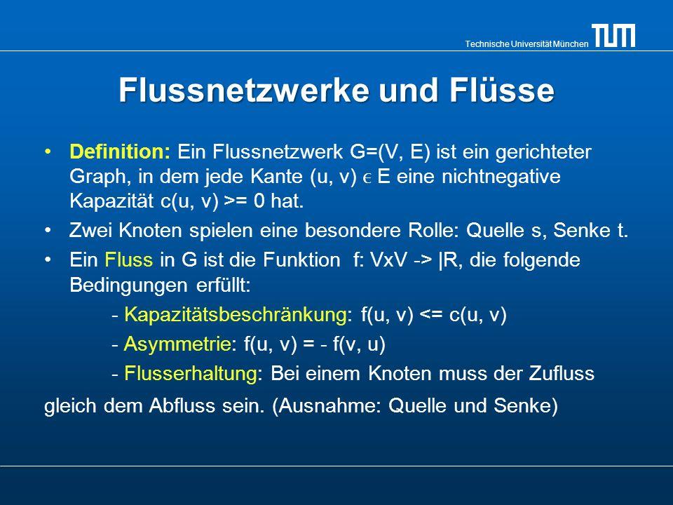 Technische Universität München Flussnetzwerke und Flüsse Definition: Ein Flussnetzwerk G=(V, E) ist ein gerichteter Graph, in dem jede Kante (u, v) E