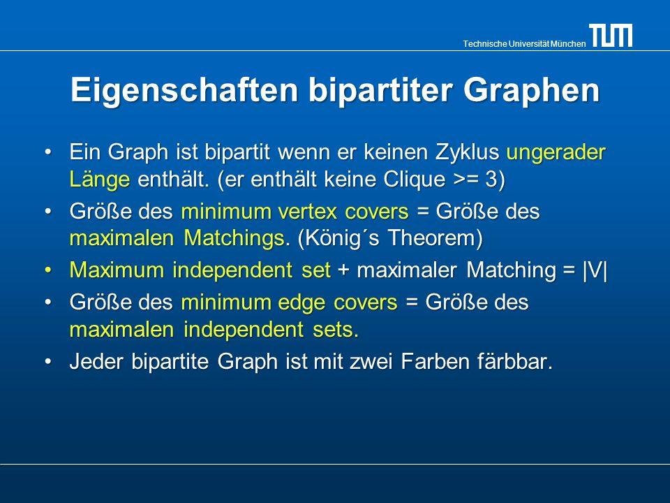 Technische Universität München Eigenschaften bipartiter Graphen Ein Graph ist bipartit wenn er keinen Zyklus ungerader Länge enthält. (er enthält kein