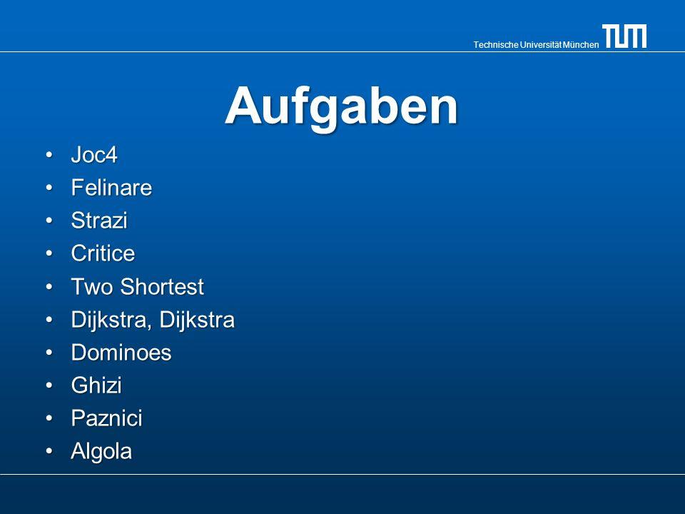 Technische Universität München Aufgaben Joc4Joc4 FelinareFelinare StraziStrazi CriticeCritice Two ShortestTwo Shortest Dijkstra, DijkstraDijkstra, Dij