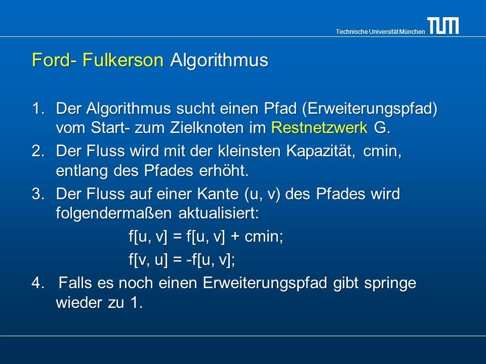 Technische Universität München Ford- Fulkerson Algorithmus 1.Der Algorithmus sucht einen Pfad (Erweiterungspfad) vom Start- zum Zielknoten im Restnetz