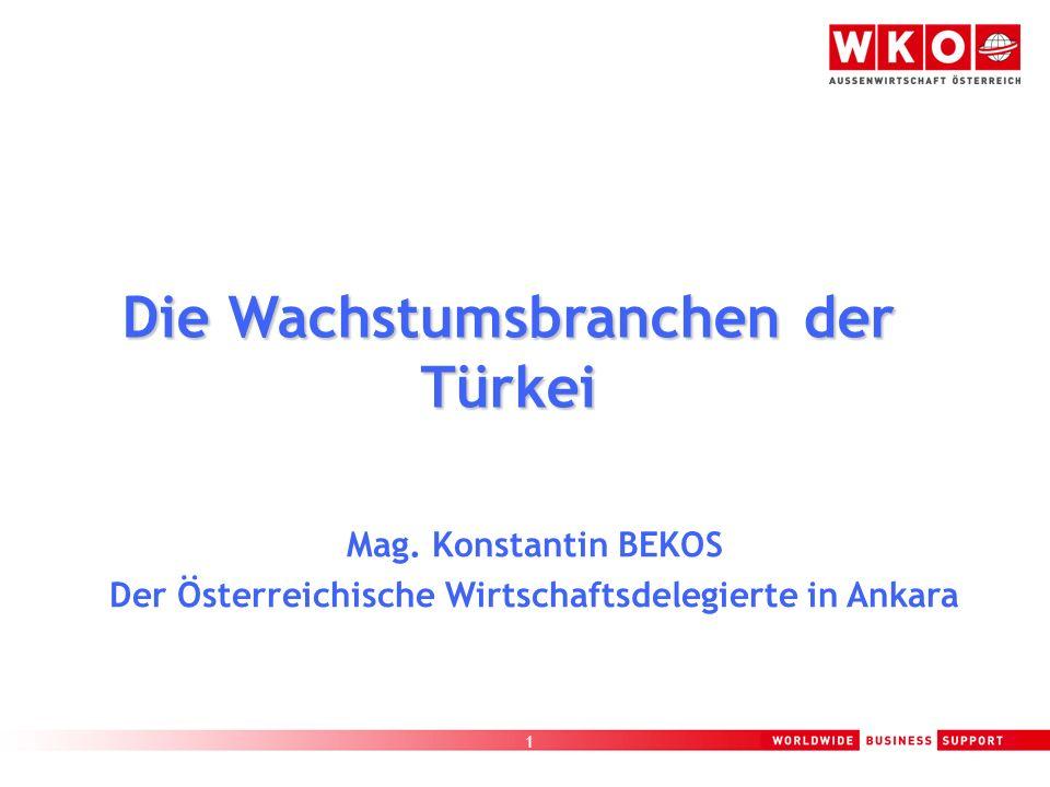 1 Mag. Konstantin BEKOS Der Österreichische Wirtschaftsdelegierte in Ankara Die Wachstumsbranchen der Türkei