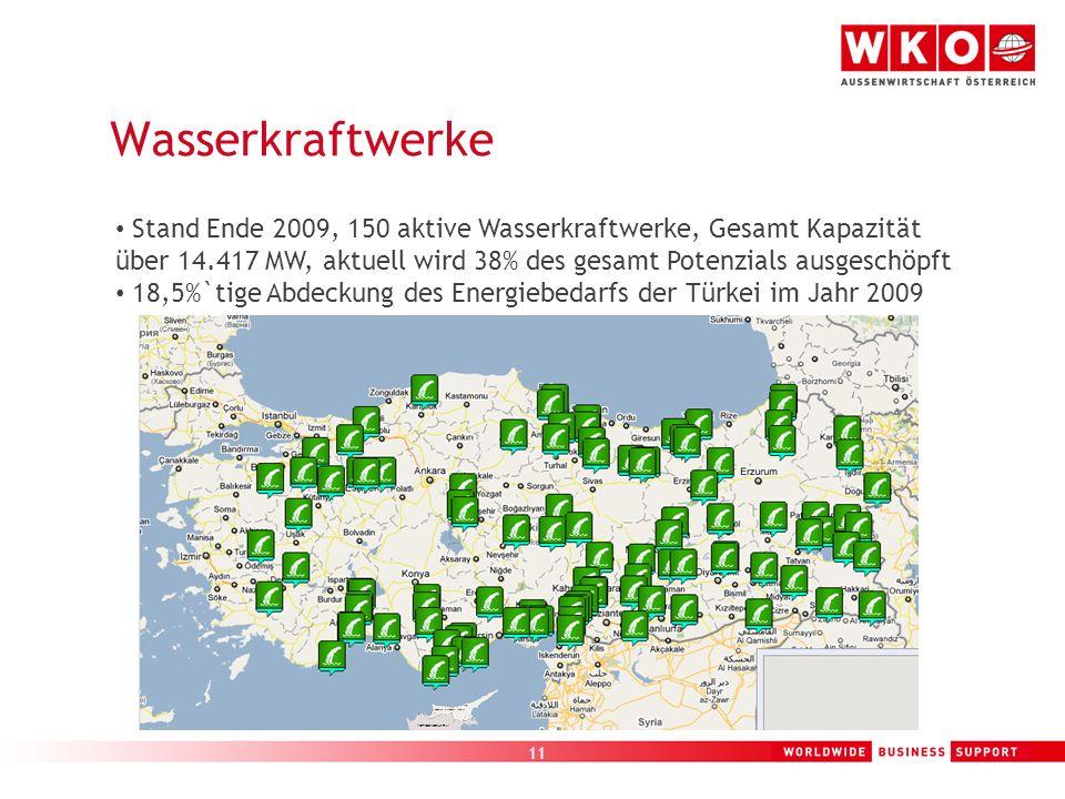 11 Wasserkraftwerke Stand Ende 2009, 150 aktive Wasserkraftwerke, Gesamt Kapazität über 14.417 MW, aktuell wird 38% des gesamt Potenzials ausgeschöpft