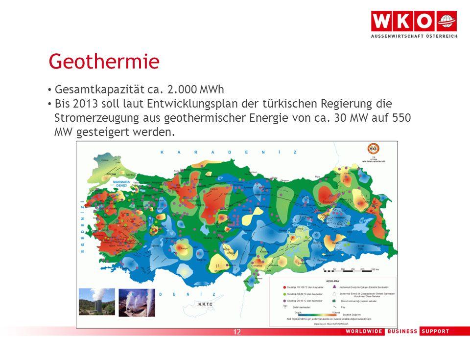 12 Geothermie Gesamtkapazität ca. 2.000 MWh Bis 2013 soll laut Entwicklungsplan der türkischen Regierung die Stromerzeugung aus geothermischer Energie