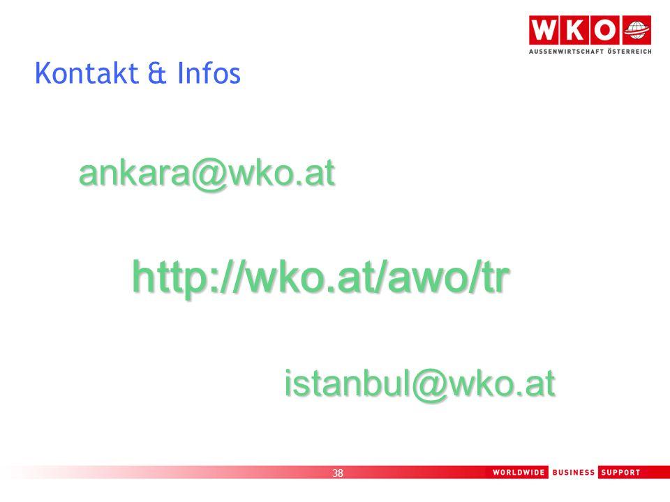 38 Kontakt & Infos ankara@wko.at istanbul@wko.at http://wko.at/awo/tr