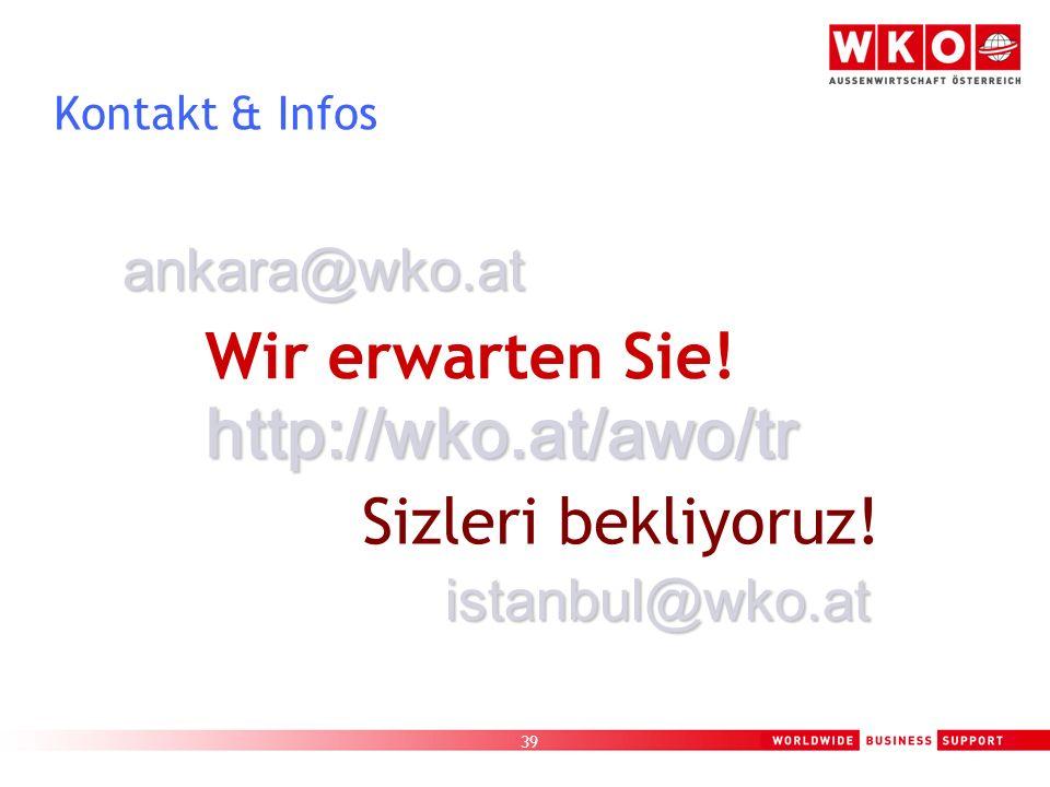 39 Kontakt & Infos Wir erwarten Sie! Sizleri bekliyoruz! ankara@wko.at istanbul@wko.at http://wko.at/awo/tr
