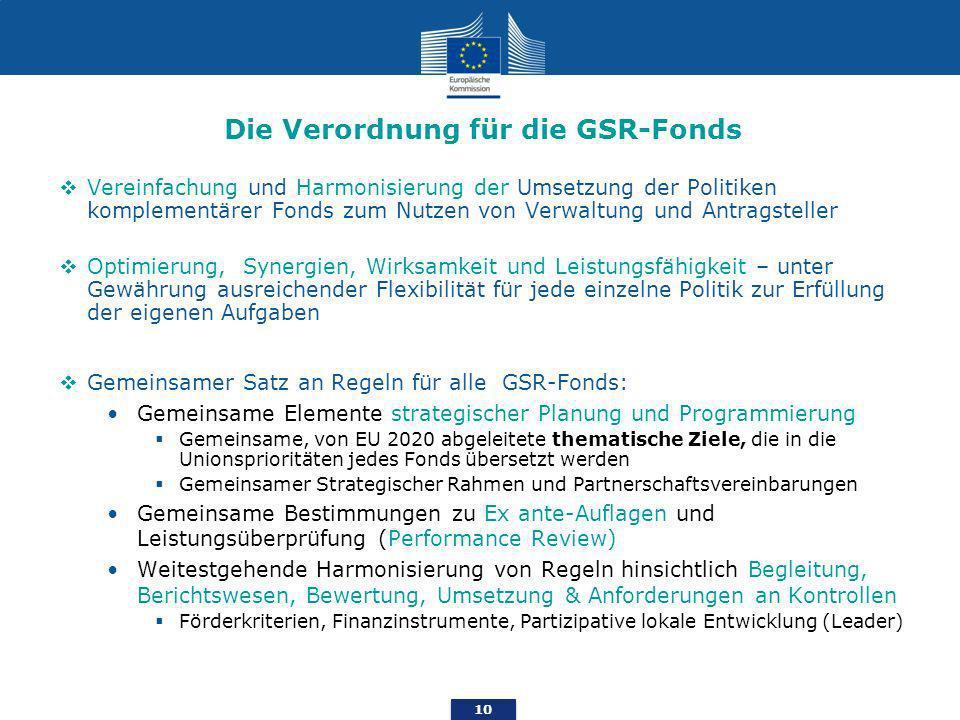 10 Die Verordnung für die GSR-Fonds Vereinfachung und Harmonisierung der Umsetzung der Politiken komplementärer Fonds zum Nutzen von Verwaltung und Antragsteller Optimierung, Synergien, Wirksamkeit und Leistungsfähigkeit – unter Gewährung ausreichender Flexibilität für jede einzelne Politik zur Erfüllung der eigenen Aufgaben Gemeinsamer Satz an Regeln für alle GSR-Fonds: Gemeinsame Elemente strategischer Planung und Programmierung Gemeinsame, von EU 2020 abgeleitete thematische Ziele, die in die Unionsprioritäten jedes Fonds übersetzt werden Gemeinsamer Strategischer Rahmen und Partnerschaftsvereinbarungen Gemeinsame Bestimmungen zu Ex ante-Auflagen und Leistungsüberprüfung (Performance Review) Weitestgehende Harmonisierung von Regeln hinsichtlich Begleitung, Berichtswesen, Bewertung, Umsetzung & Anforderungen an Kontrollen Förderkriterien, Finanzinstrumente, Partizipative lokale Entwicklung (Leader)