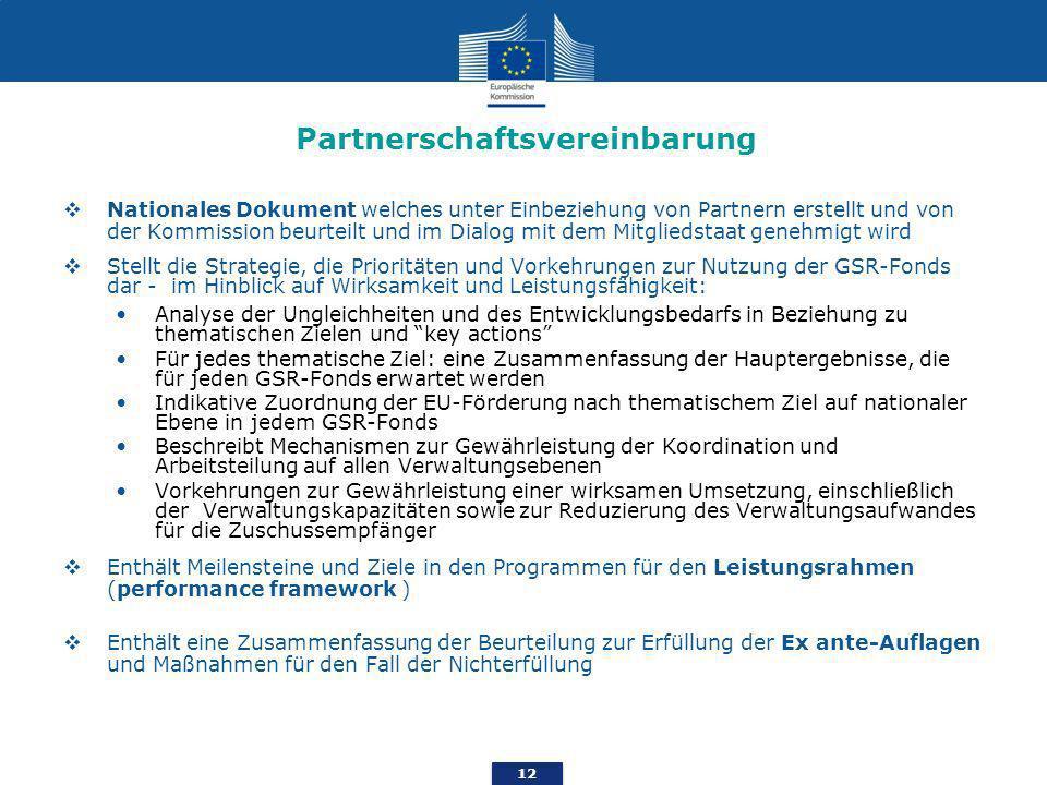 12 Partnerschaftsvereinbarung Nationales Dokument welches unter Einbeziehung von Partnern erstellt und von der Kommission beurteilt und im Dialog mit dem Mitgliedstaat genehmigt wird Stellt die Strategie, die Prioritäten und Vorkehrungen zur Nutzung der GSR-Fonds dar - im Hinblick auf Wirksamkeit und Leistungsfähigkeit: Analyse der Ungleichheiten und des Entwicklungsbedarfs in Beziehung zu thematischen Zielen und key actions Für jedes thematische Ziel: eine Zusammenfassung der Hauptergebnisse, die für jeden GSR-Fonds erwartet werden Indikative Zuordnung der EU-Förderung nach thematischem Ziel auf nationaler Ebene in jedem GSR-Fonds Beschreibt Mechanismen zur Gewährleistung der Koordination und Arbeitsteilung auf allen Verwaltungsebenen Vorkehrungen zur Gewährleistung einer wirksamen Umsetzung, einschließlich der Verwaltungskapazitäten sowie zur Reduzierung des Verwaltungsaufwandes für die Zuschussempfänger Enthält Meilensteine und Ziele in den Programmen für den Leistungsrahmen (performance framework ) Enthält eine Zusammenfassung der Beurteilung zur Erfüllung der Ex ante-Auflagen und Maßnahmen für den Fall der Nichterfüllung