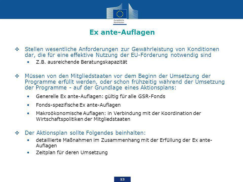 13 Ex ante-Auflagen Stellen wesentliche Anforderungen zur Gewährleistung von Konditionen dar, die für eine effektive Nutzung der EU-Förderung notwendig sind Z.B.