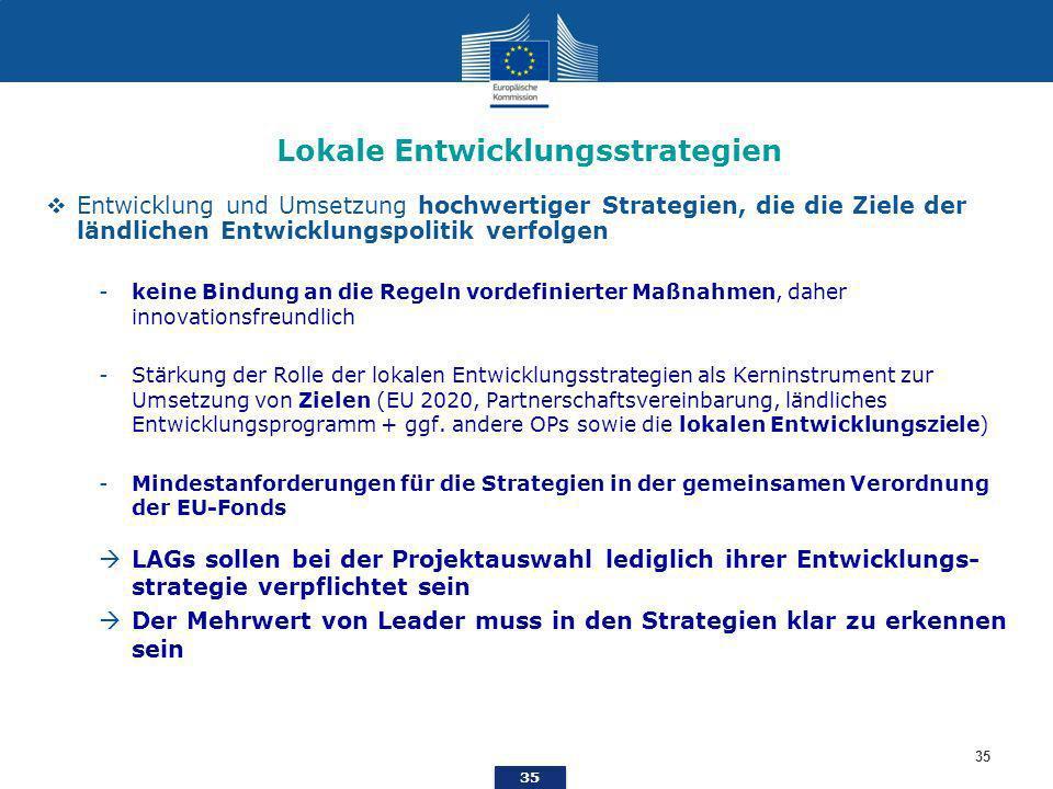 35 Lokale Entwicklungsstrategien Entwicklung und Umsetzung hochwertiger Strategien, die die Ziele der ländlichen Entwicklungspolitik verfolgen -keine Bindung an die Regeln vordefinierter Maßnahmen, daher innovationsfreundlich -Stärkung der Rolle der lokalen Entwicklungsstrategien als Kerninstrument zur Umsetzung von Zielen (EU 2020, Partnerschaftsvereinbarung, ländliches Entwicklungsprogramm + ggf.