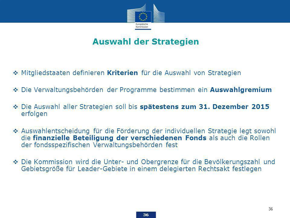 36 Auswahl der Strategien Mitgliedstaaten definieren Kriterien für die Auswahl von Strategien Die Verwaltungsbehörden der Programme bestimmen ein Auswahlgremium Die Auswahl aller Strategien soll bis spätestens zum 31.