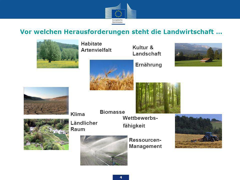 4 Ernährung Habitate Artenvielfalt Wettbewerbs- fähigkeit Kultur & Landschaft Biomasse Klima Ländlicher Raum Ressourcen- Management Vor welchen Herausforderungen steht die Landwirtschaft …