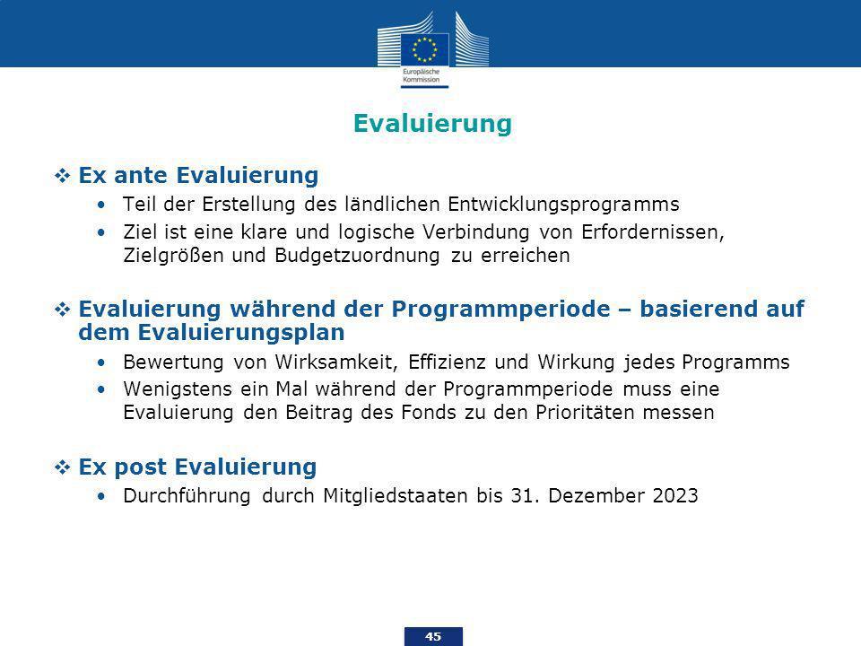 45 Evaluierung Ex ante Evaluierung Teil der Erstellung des ländlichen Entwicklungsprogramms Ziel ist eine klare und logische Verbindung von Erfordernissen, Zielgrößen und Budgetzuordnung zu erreichen Evaluierung während der Programmperiode – basierend auf dem Evaluierungsplan Bewertung von Wirksamkeit, Effizienz und Wirkung jedes Programms Wenigstens ein Mal während der Programmperiode muss eine Evaluierung den Beitrag des Fonds zu den Prioritäten messen Ex post Evaluierung Durchführung durch Mitgliedstaaten bis 31.