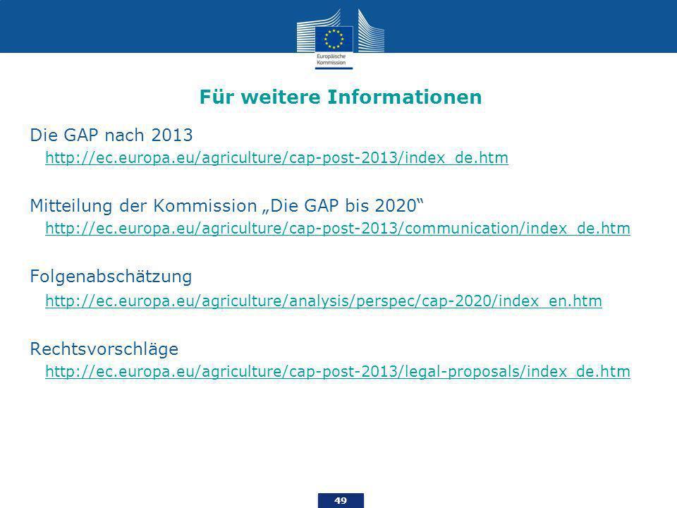 49 Für weitere Informationen Die GAP nach 2013 http://ec.europa.eu/agriculture/cap-post-2013/index_de.htm Mitteilung der Kommission Die GAP bis 2020 http://ec.europa.eu/agriculture/cap-post-2013/communication/index_de.htm Folgenabschätzung http://ec.europa.eu/agriculture/analysis/perspec/cap-2020/index_en.htm Rechtsvorschläge http://ec.europa.eu/agriculture/cap-post-2013/legal-proposals/index_de.htm