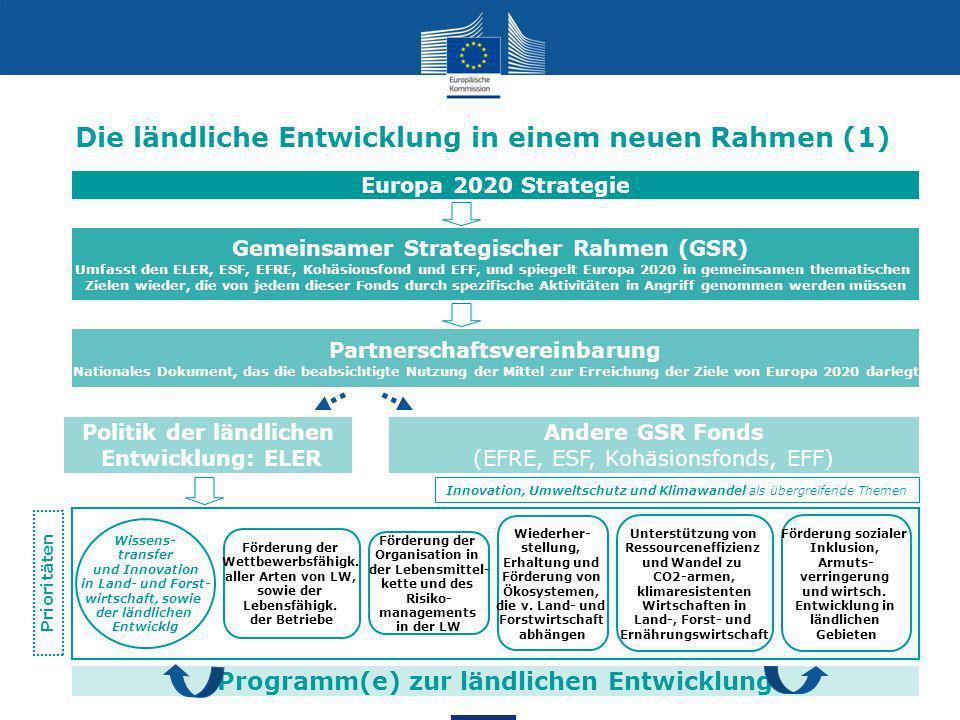 8 Programm(e) zur ländlichen Entwicklung Die ländliche Entwicklung in einem neuen Rahmen (1) Gemeinsamer Strategischer Rahmen (GSR) Umfasst den ELER, ESF, EFRE, Kohäsionsfond und EFF, und spiegelt Europa 2020 in gemeinsamen thematischen Zielen wieder, die von jedem dieser Fonds durch spezifische Aktivitäten in Angriff genommen werden müssen Partnerschaftsvereinbarung Nationales Dokument, das die beabsichtigte Nutzung der Mittel zur Erreichung der Ziele von Europa 2020 darlegt Politik der ländlichen Entwicklung: ELER Andere GSR Fonds (EFRE, ESF, Kohäsionsfonds, EFF) Europa 2020 Strategie Förderung sozialer Inklusion, Armuts- verringerung und wirtsch.
