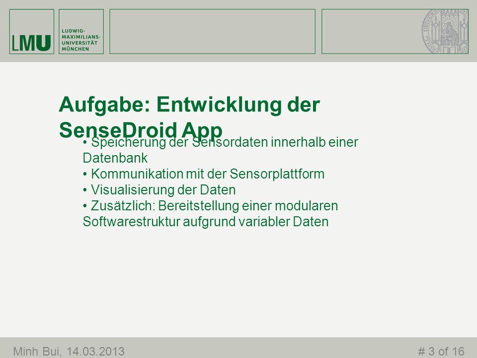 Aufgabe: Entwicklung der SenseDroid App Speicherung der Sensordaten innerhalb einer Datenbank Kommunikation mit der Sensorplattform Visualisierung der