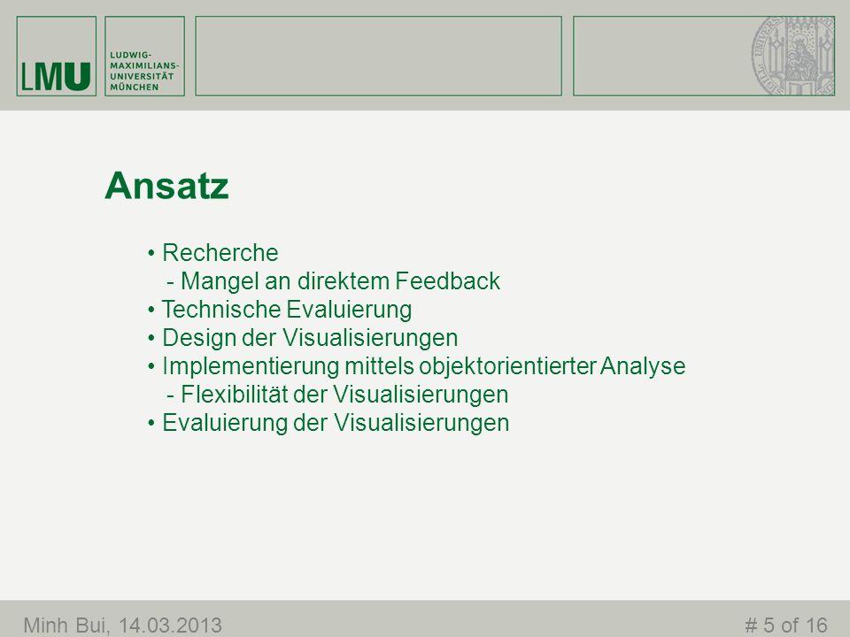 Ansatz Recherche - Mangel an direktem Feedback Technische Evaluierung Design der Visualisierungen Implementierung mittels objektorientierter Analyse -