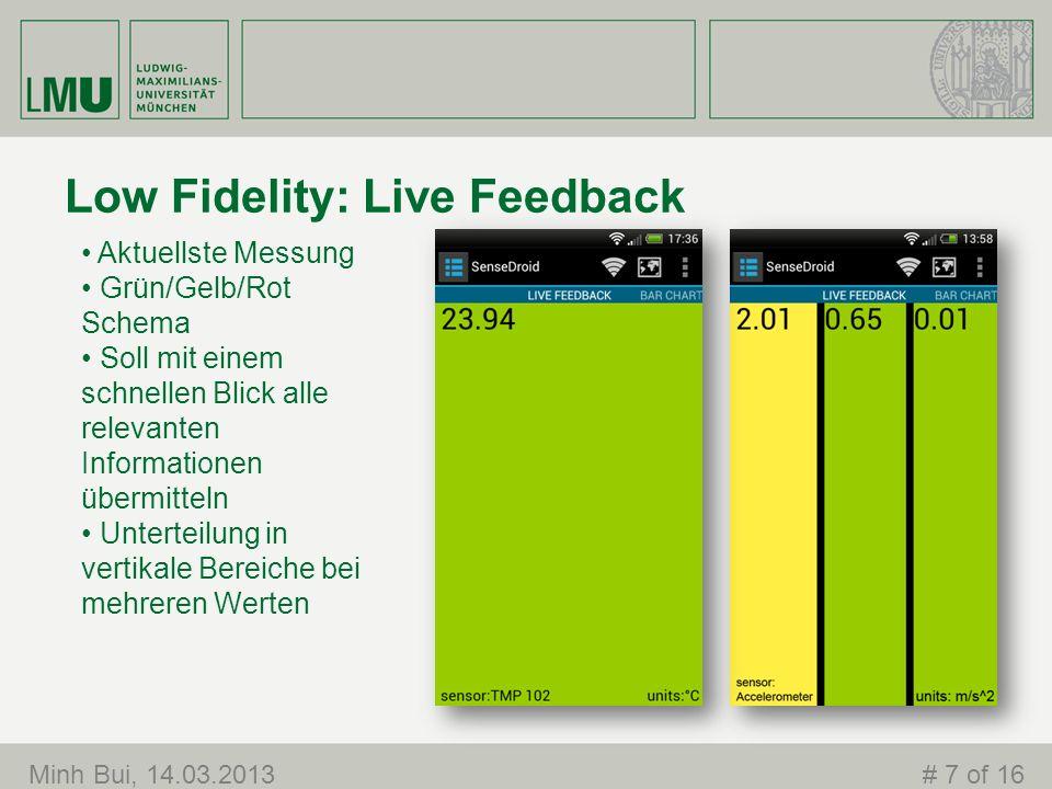 Low Fidelity: Live Feedback Minh Bui, 14.03.2013# 7 of 16 Aktuellste Messung Grün/Gelb/Rot Schema Soll mit einem schnellen Blick alle relevanten Informationen übermitteln Unterteilung in vertikale Bereiche bei mehreren Werten