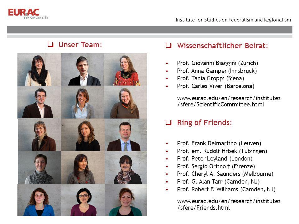 Institute for Studies on Federalism and Regionalism Wissenschaftlicher Beirat: Prof. Giovanni Biaggini (Zürich) Prof. Anna Gamper (Innsbruck) Prof. Ta