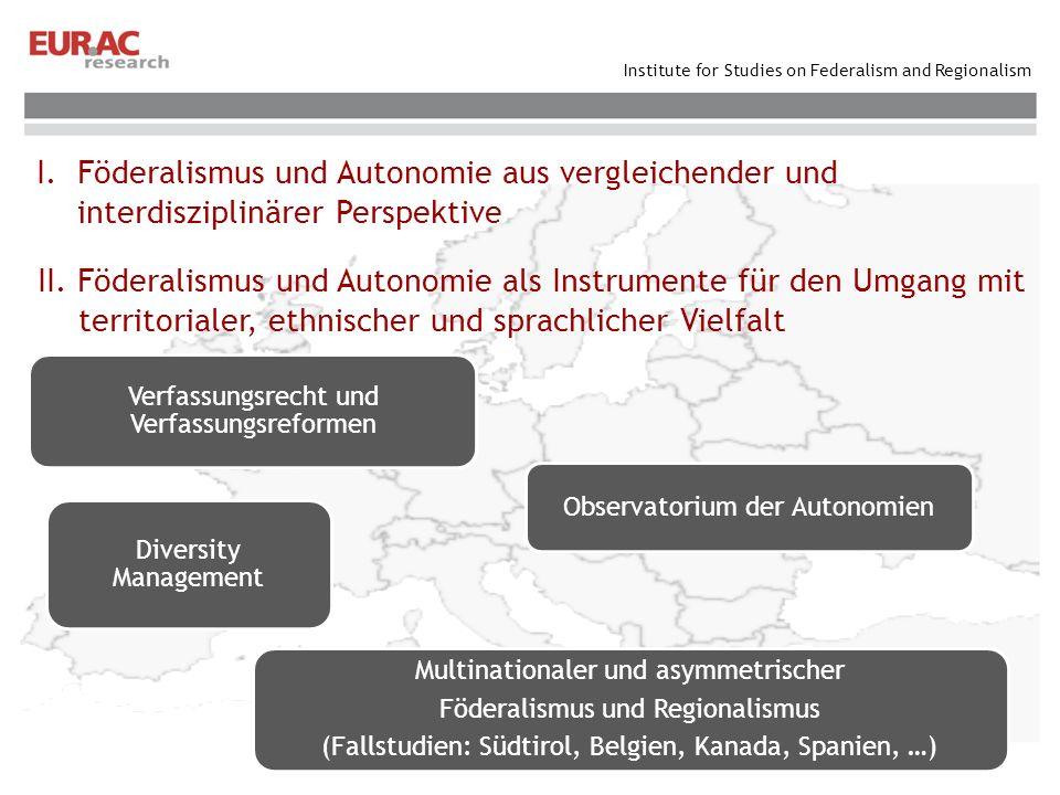 Institute for Studies on Federalism and Regionalism I. Föderalismus und Autonomie aus vergleichender und interdisziplinärer Perspektive II. Föderalism