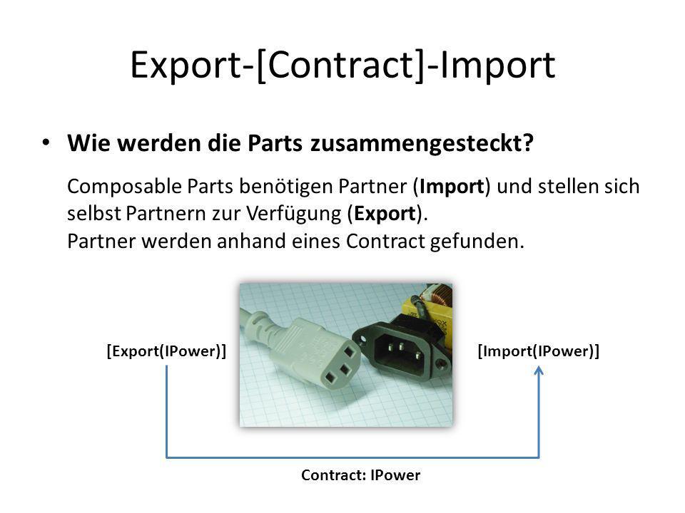 Export-[Contract]-Import Wie werden die Parts zusammengesteckt? Composable Parts benötigen Partner (Import) und stellen sich selbst Partnern zur Verfü