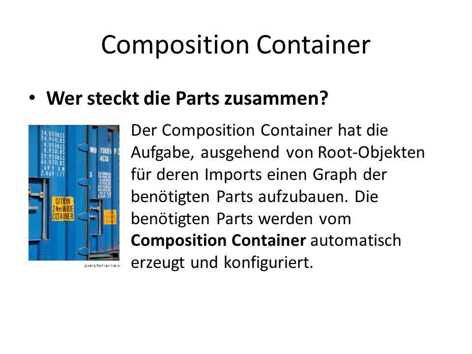 Composition Container Wer steckt die Parts zusammen? Der Composition Container hat die Aufgabe, ausgehend von Root-Objekten für deren Imports einen Gr