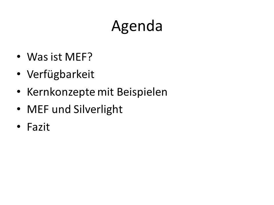 Fazit MEF ist ein vielseitiges, extrem mächtiges, durchdachtes und erweiterbares Framework, das in fast allen Entwicklungsdomänen zum Einsatz kommen kann Das Programmierungsmodell ist elegant und einfach zu lernen Microsoft setzt auch intern stark auf MEF MEF ist cool!