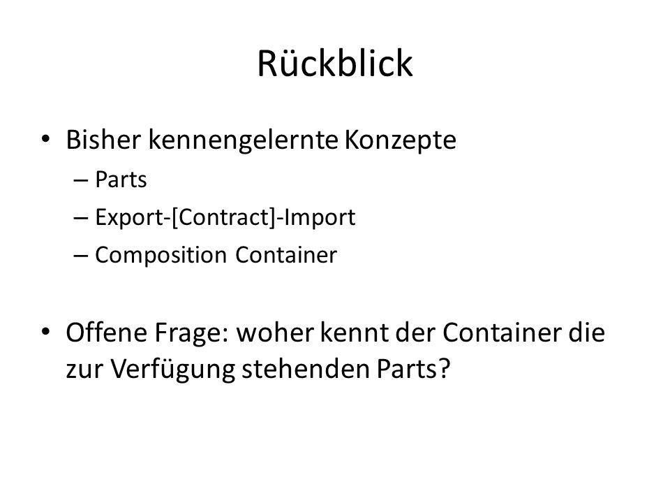 Rückblick Bisher kennengelernte Konzepte – Parts – Export-[Contract]-Import – Composition Container Offene Frage: woher kennt der Container die zur Ve