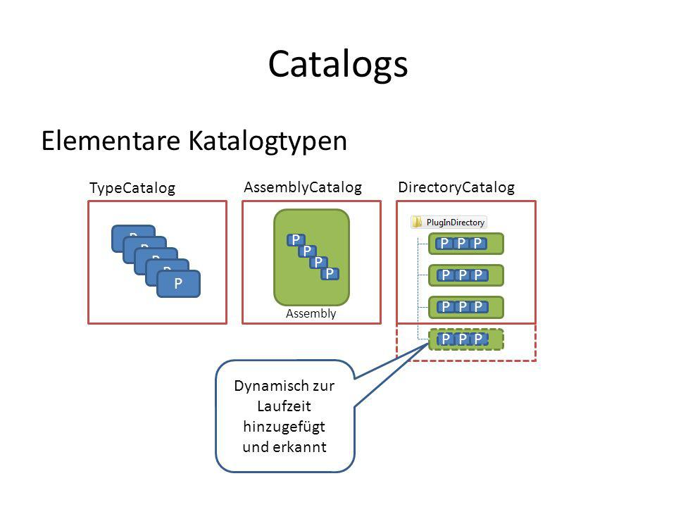 Catalogs P P P P TypeCatalog AssemblyCatalogDirectoryCatalog P P P P Assembly P PPP PPP PPP Elementare Katalogtypen PPP Dynamisch zur Laufzeit hinzuge