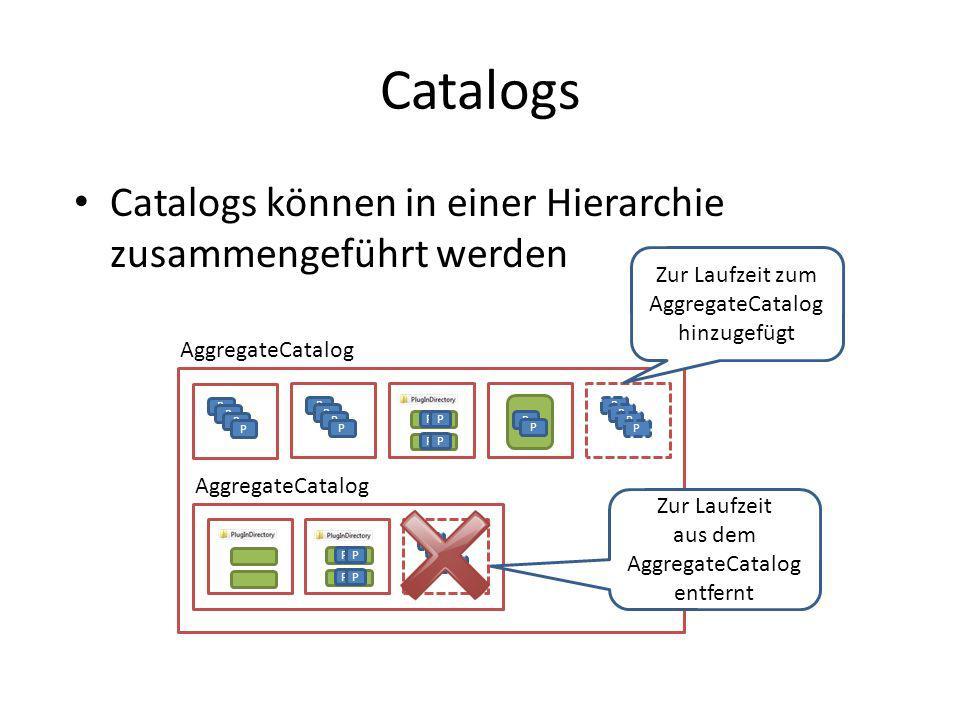 Catalogs Catalogs können in einer Hierarchie zusammengeführt werden AggregateCatalog P P P P P P P P P P PP PP P P P P Zur Laufzeit zum AggregateCatal