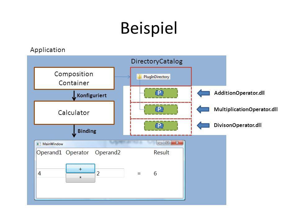 Beispiel DirectoryCatalog P Composition Container AdditionOperator.dll Calculator P MultiplicationOperator.dll Konfiguriert Binding Application P Divi