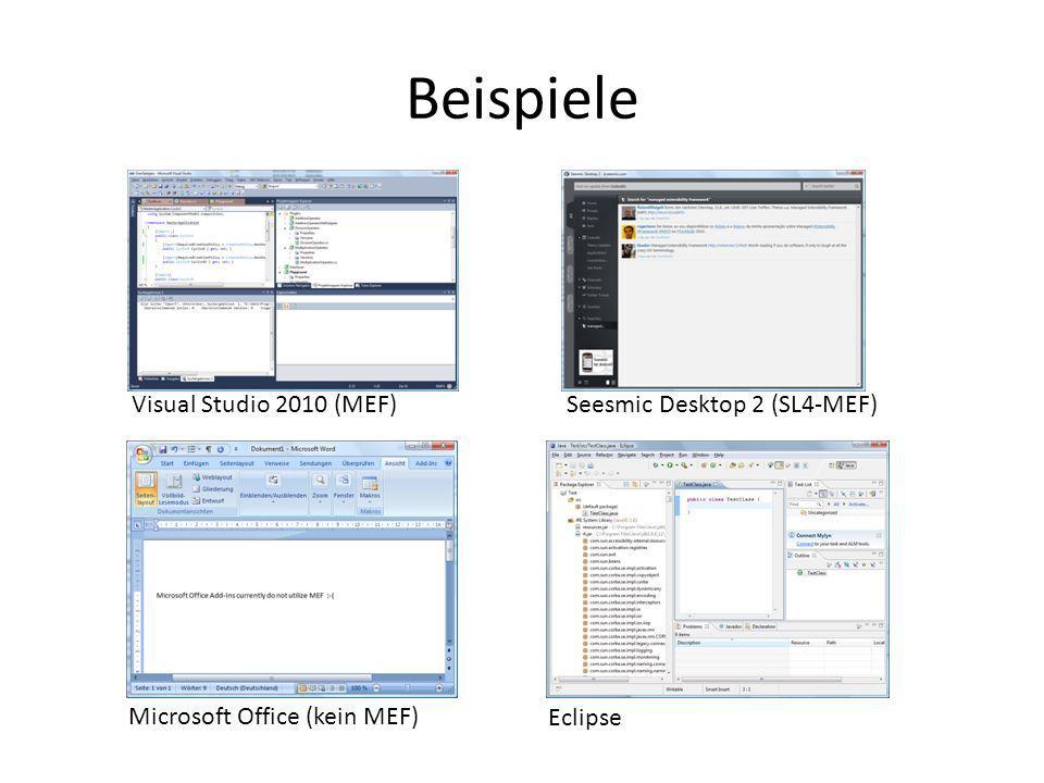 Links Dokumentation und Einführungen – http://mef.codeplex.com Architektur, Programming Guide, Source Code (!), Samples http://mef.codeplex.com – MSDN-Artikel von Glenn Block http://msdn.microsoft.com/en-us/magazine/ee291628.aspxhttp://msdn.microsoft.com/en-us/magazine/ee291628.aspx – MEF-Videoserie von Mike Taulty auf Channel 9 (http://channel9.msdn.com/Blogs/mtaulty)http://channel9.msdn.com/Blogs/mtaulty – Vortrag auf der PDC2009 von Glenn Block (http://www.microsoftpdc.com/2009/FT24)http://www.microsoftpdc.com/2009/FT24 – http://blogs.microsoft.co.il/blogs/bnaya/archive/2010/01/09/mef-for-beginner-toc.aspx http://blogs.microsoft.co.il/blogs/bnaya/archive/2010/01/09/mef-for-beginner-toc.aspx Blogs – http://csharperimage.jeremylikness.com/ http://csharperimage.jeremylikness.com/ – http://codebetter.com/blogs/glenn.block/ http://codebetter.com/blogs/glenn.block/ MEF und IoC-Container – http://www.c-sharpcorner.com/UploadFile/shivprasadk/3122/Default.aspx http://www.c-sharpcorner.com/UploadFile/shivprasadk/3122/Default.aspx – http://www.vimeo.com/12951084 (Vorsicht, der Anfang ist nicht so gut) http://www.vimeo.com/12951084 – http://codebetter.com/blogs/glenn.block/archive/2009/08/16/should-i-use-mef-for-my-general-ioc-needs.aspx http://codebetter.com/blogs/glenn.block/archive/2009/08/16/should-i-use-mef-for-my-general-ioc-needs.aspx – http://ayende.com/Blog/archive/2008/09/25/the-managed-extensibility-framework.aspx http://ayende.com/Blog/archive/2008/09/25/the-managed-extensibility-framework.aspx – http://www.weask.us/entry/mef-microsoft-extensibility-framework-ioc-di http://www.weask.us/entry/mef-microsoft-extensibility-framework-ioc-di – http://blog.noop.se/archive/2009/08/10/mef-common-service-locator-adapter-updated-to-mef-preview-6.aspx http://blog.noop.se/archive/2009/08/10/mef-common-service-locator-adapter-updated-to-mef-preview-6.aspx – Vieldiskutiertes Thema etwa bei http://stackoverflow.com/http://stackoverflow.com/ – http://pwlodek.blogspot.com/2009/08/