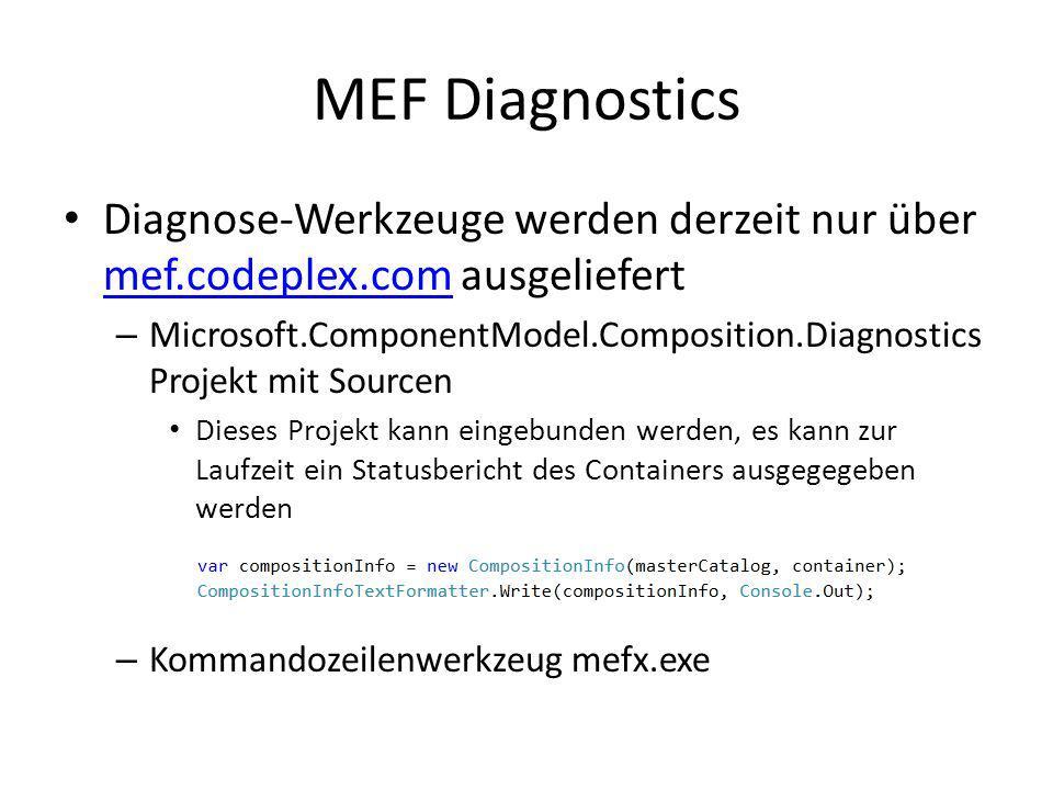MEF Diagnostics Diagnose-Werkzeuge werden derzeit nur über mef.codeplex.com ausgeliefert mef.codeplex.com – Microsoft.ComponentModel.Composition.Diagn