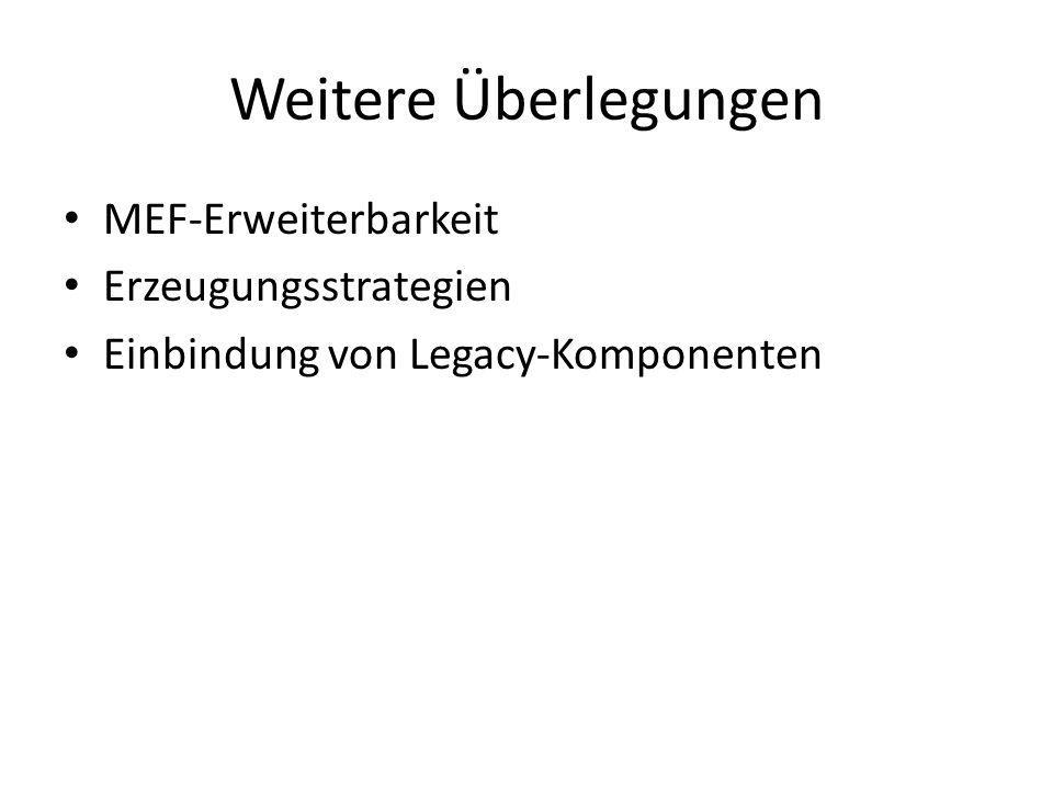Weitere Überlegungen MEF-Erweiterbarkeit Erzeugungsstrategien Einbindung von Legacy-Komponenten