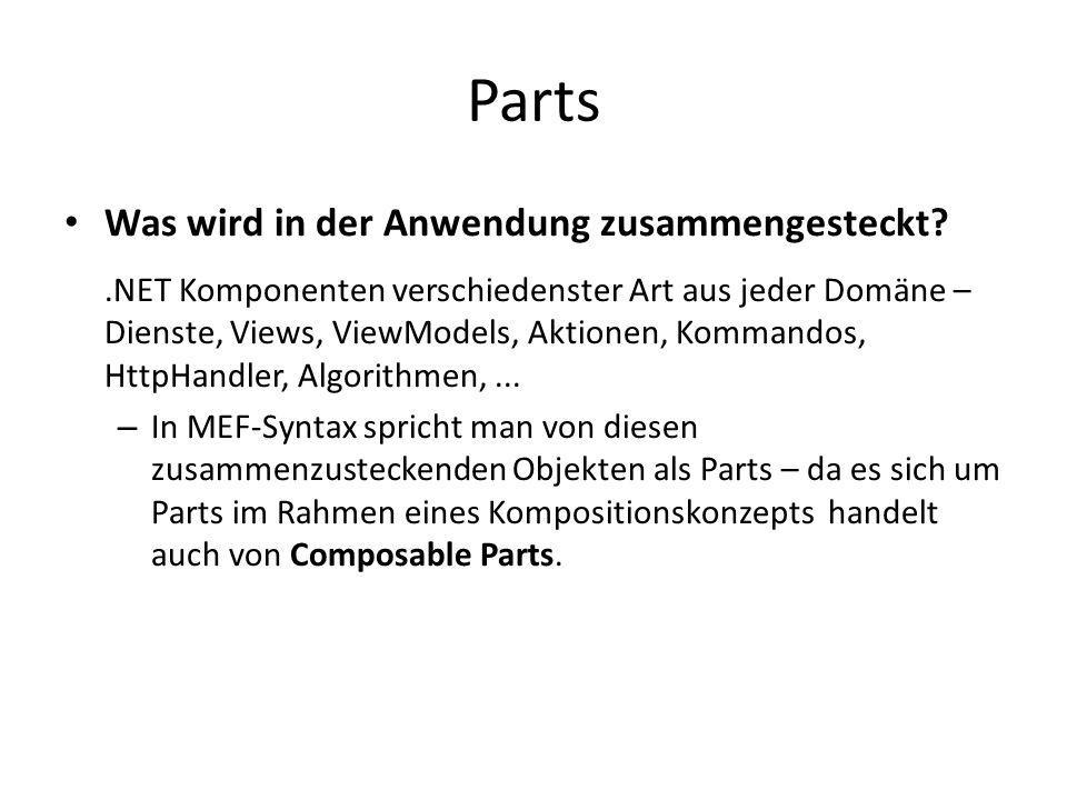 Parts Was wird in der Anwendung zusammengesteckt?.NET Komponenten verschiedenster Art aus jeder Domäne – Dienste, Views, ViewModels, Aktionen, Kommand