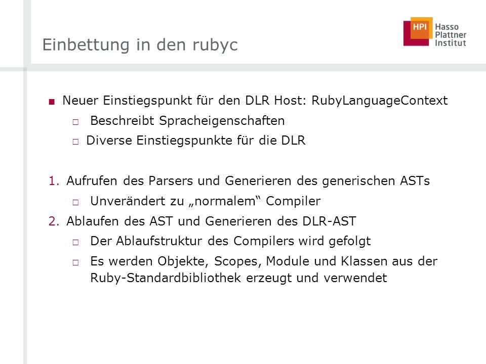 Einbettung in den rubyc Neuer Einstiegspunkt für den DLR Host: RubyLanguageContext Beschreibt Spracheigenschaften Diverse Einstiegspunkte für die DLR