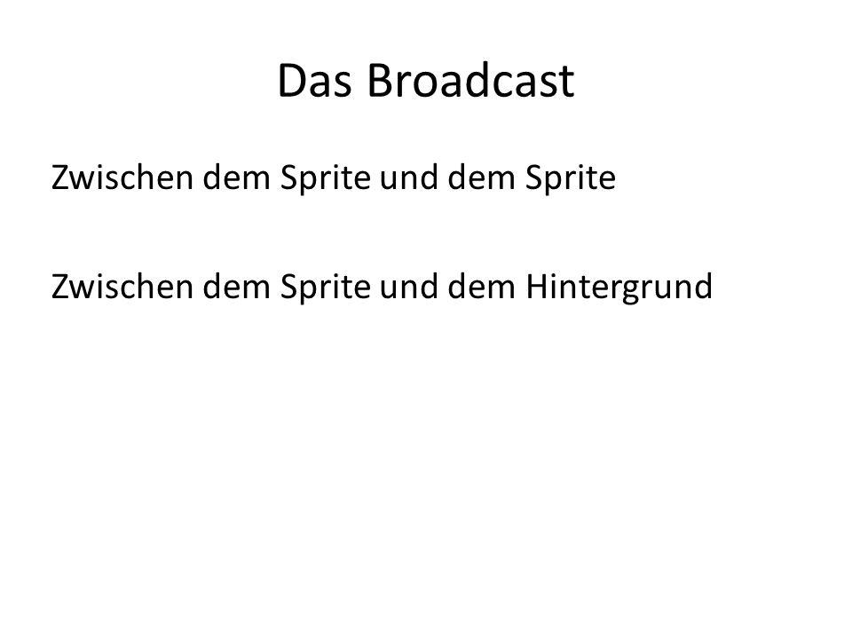 Das Broadcast Zwischen dem Sprite und dem Sprite Zwischen dem Sprite und dem Hintergrund