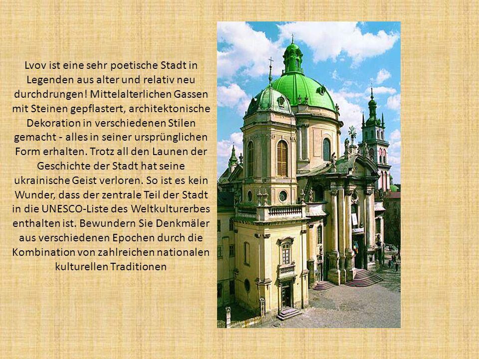 Lvov ist eine sehr poetische Stadt in Legenden aus alter und relativ neu durchdrungen! Mittelalterlichen Gassen mit Steinen gepflastert, architektonis