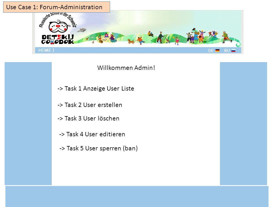 Willkommen Admin! Use Case 1: Forum-Administration -> Task 2 User erstellen -> Task 1 Anzeige User Liste -> Task 3 User löschen -> Task 5 User sperren