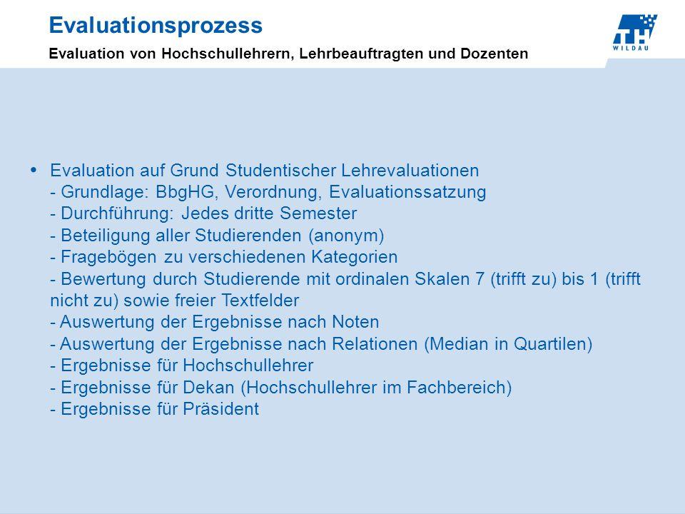 Evaluationsprozess Evaluation von Hochschullehrern, Lehrbeauftragten und Dozenten Evaluation auf Grund Studentischer Lehrevaluationen - Grundlage: Bbg